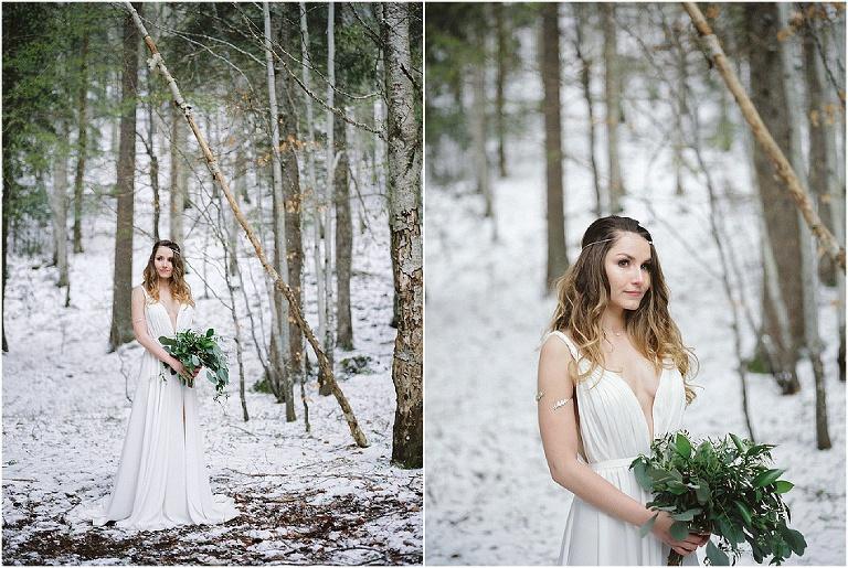 mariage végétal dans la neige